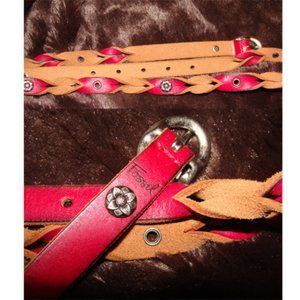 ✅ Fossil thin leather belt  metal flowers aprox M